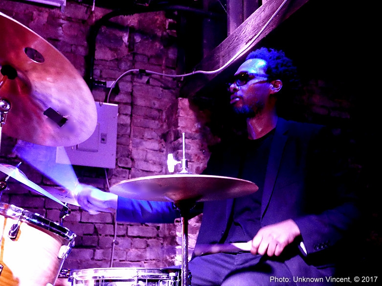Playing drums with The Mario Fogg Quintet in Atlanta Ga. ( Photo by    Unknown Vincent   )