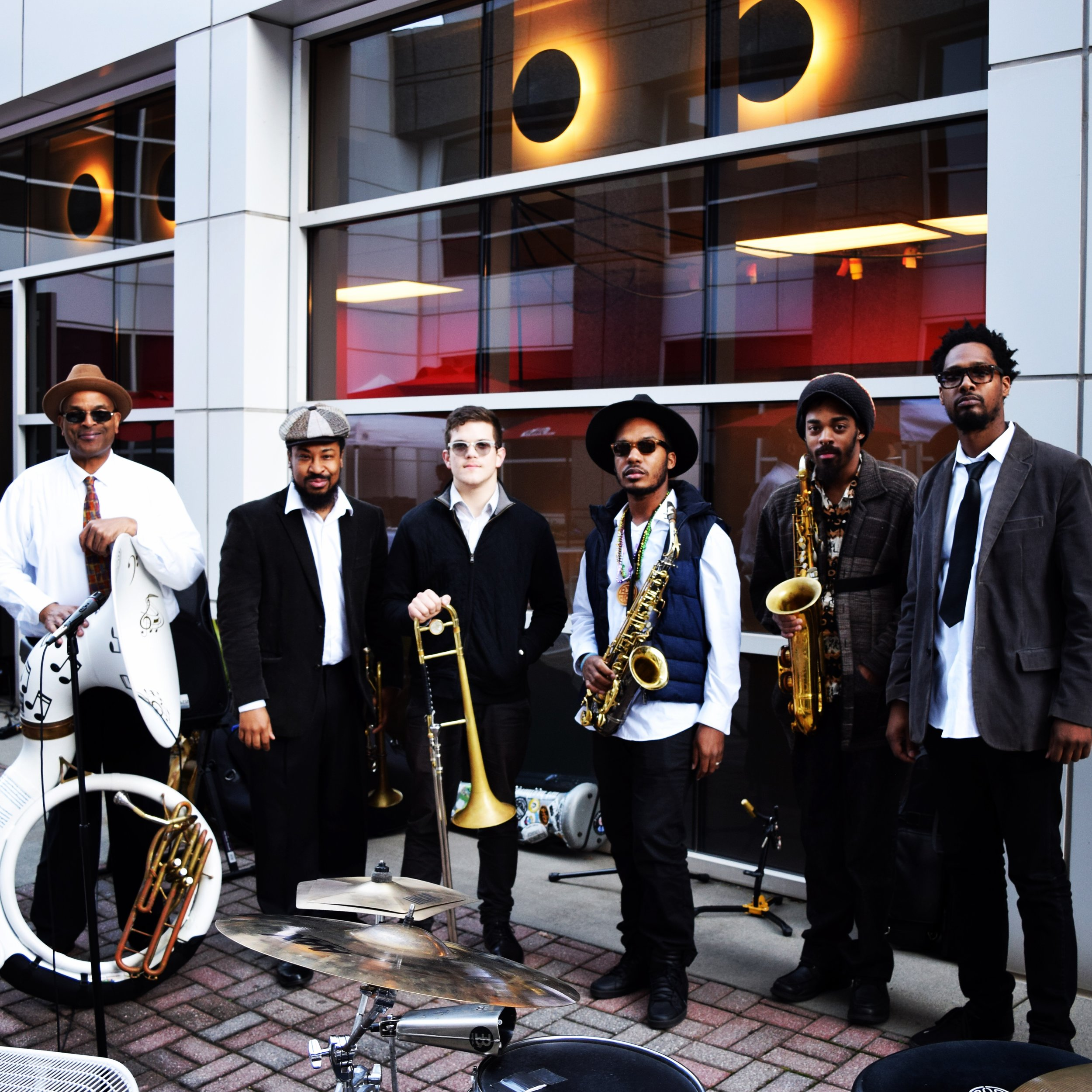 The Atlanta Brass Collective (Atlanta based second line band), playing a private event for Arby's ( Photo by   Matt Daniels )