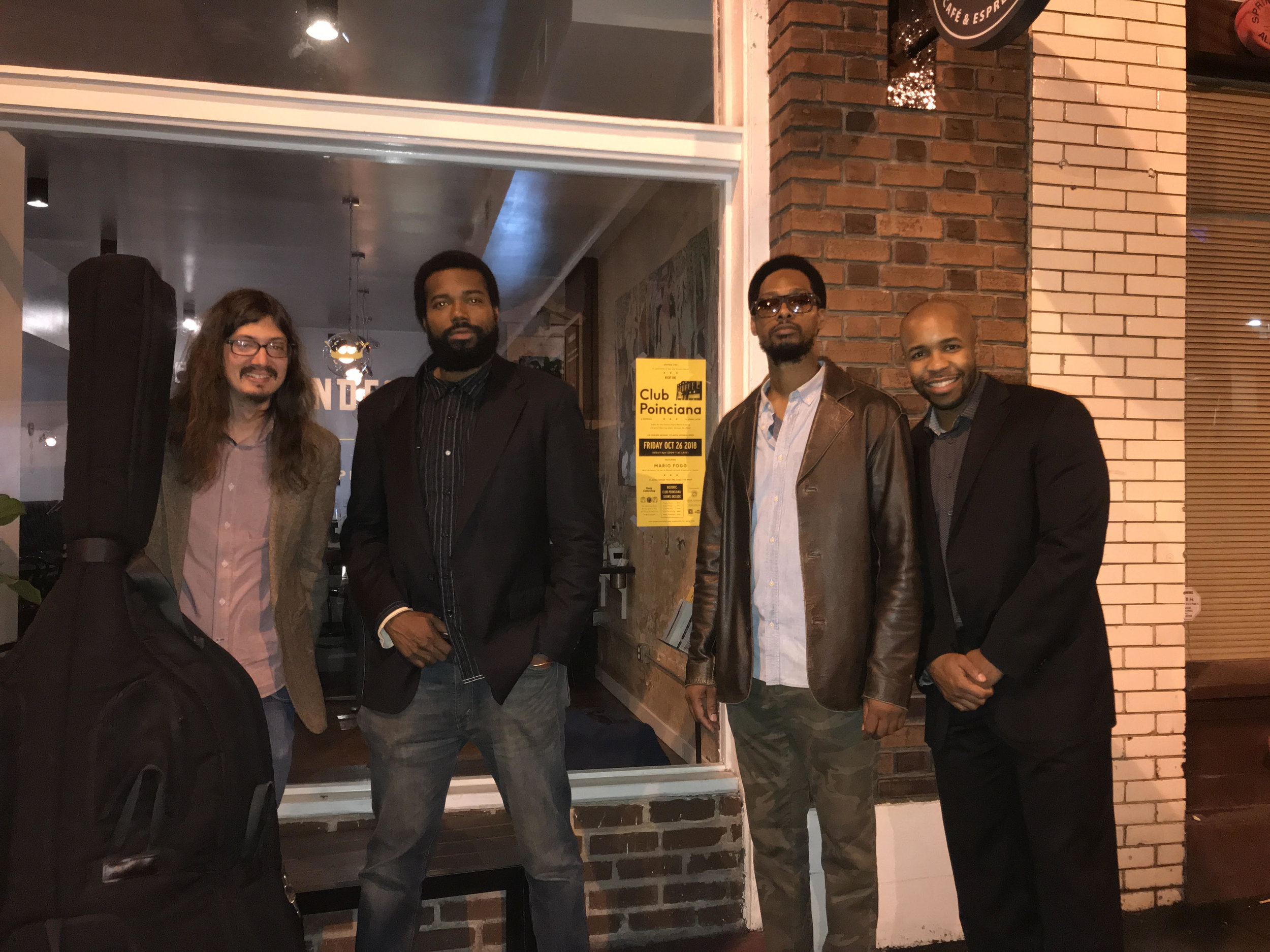 MFQ (The Mario Fogg Quartet) after performing for the 74th opening date anniversary of Club Poinciana on the historic Sweet Auburn Ave in Atlanta, Ga sponsored by  Constellations Atlanta , and  Proper Atl !