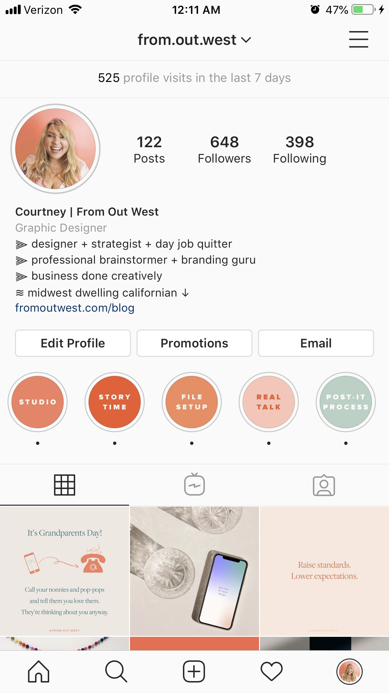 New Instagram Profile Screenshot From Out West