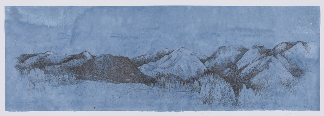 "Peshastin Valley   ink & conte pencil on dyed kozo paper, 31.5 x 10.5"", 2017"