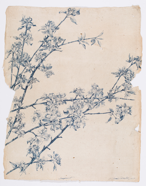 """Fragment , ink on antique Japanese paper, 25.5 x 20.5"""", 2017"""