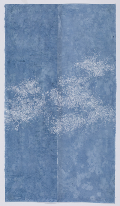 """Sky of Skies , white sumi on dyed kozo paper, 35.5 x 20"""", 2017"""