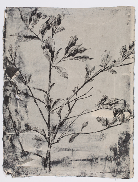 "Memories in Paper , sumi ink on antique paper, 26 x 20"", 2017"