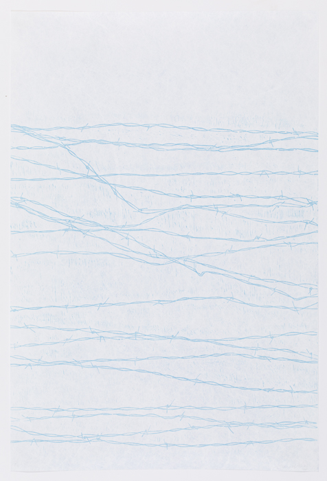 """Wire Fence , woodcut on tyvek, 36 x 24"""", ed. of 10, 2017"""