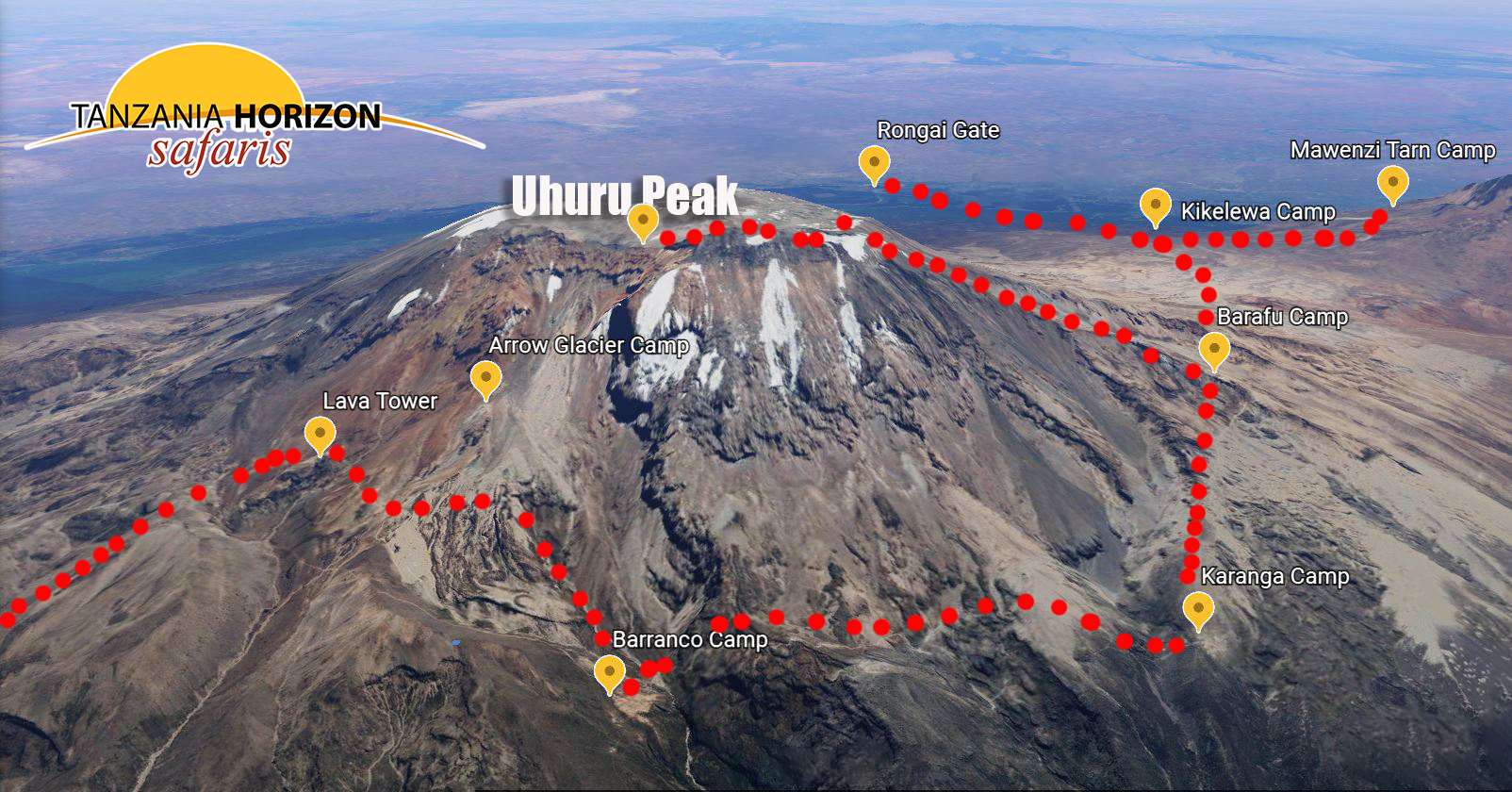 Uhuru Peak and DIFFERENT ROUTES TO APPROACH KILIMANJARO / by GOOGLE