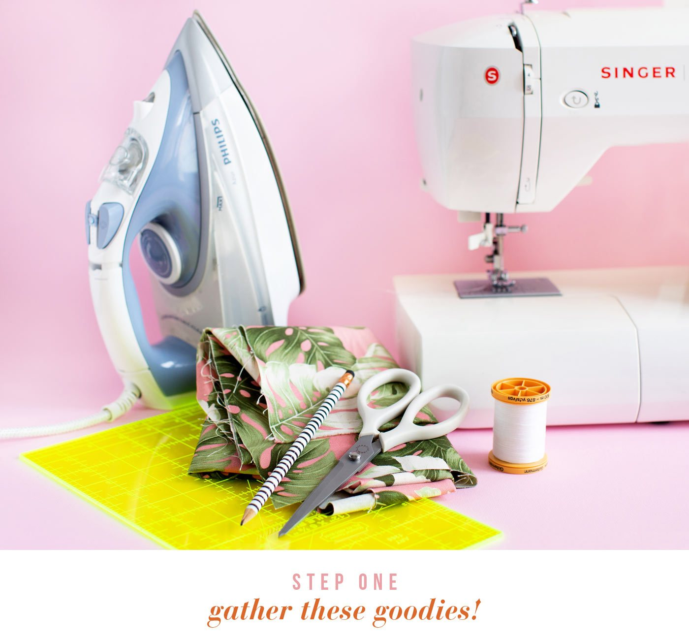 Gather these goodies! Sewing machine + thread (choose a fun colour), Iron, Ruler, Material scissors, Pencil, Material (in your favourite print)