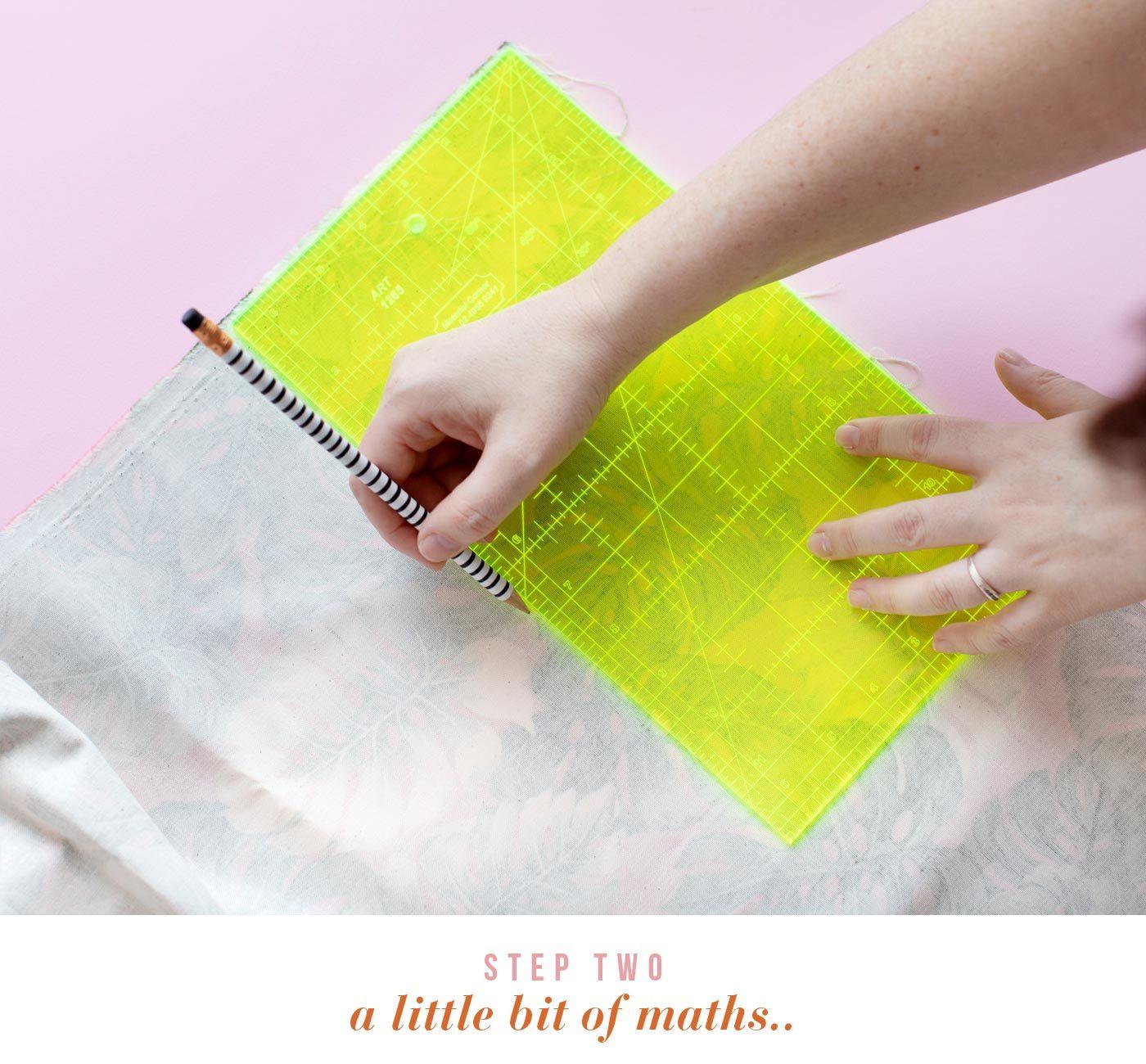 A little bit of maths. Measure and mark out 2 napkins (14.5 x 19cm each) plus 2 placemats  (25 x 19cm)
