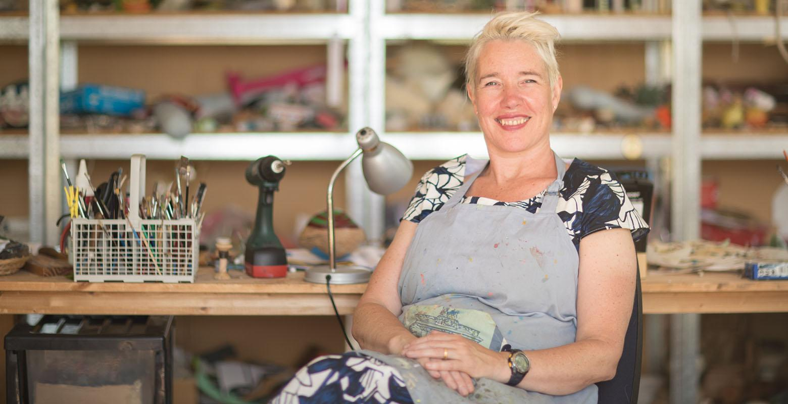 Lisa Walker in her studio, 2017. Photograph by Kate Whitley. Te Papa