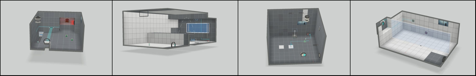 Some of the many puzzle and room concepts made with PTI. Keeping it simple allowed for exploration into various ideas and variants.
