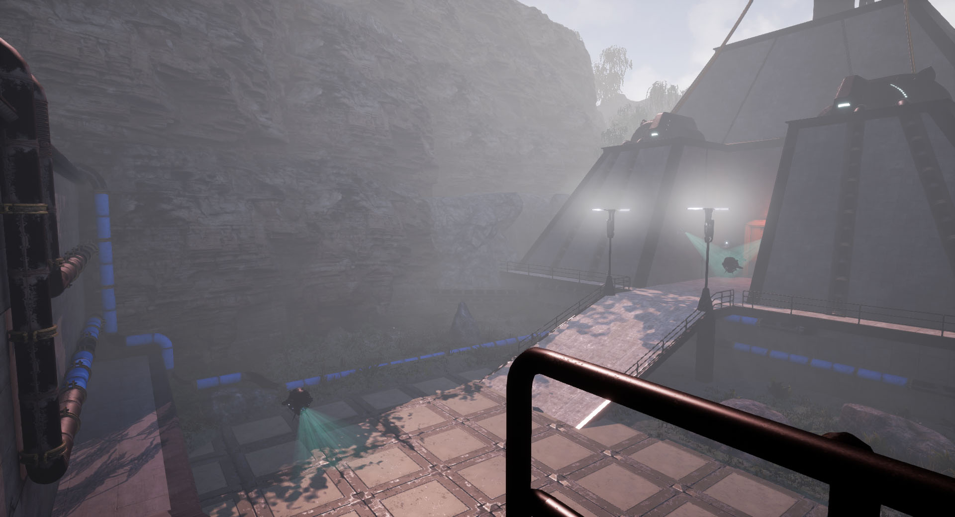 More colored pipes showing the player a safer path to the second buildning