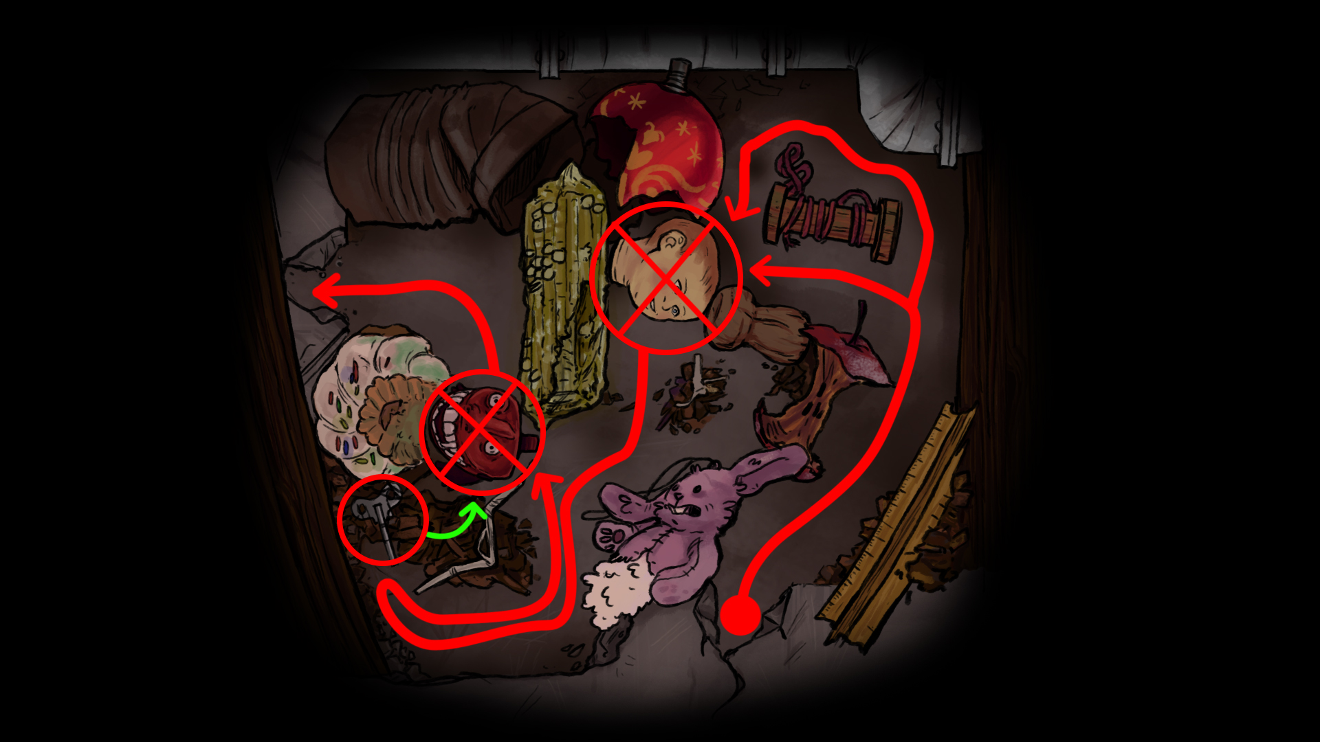 The layout of the RatMaze. interactables in the circles had to be removed. The head by clicking and the teeth by using a item.