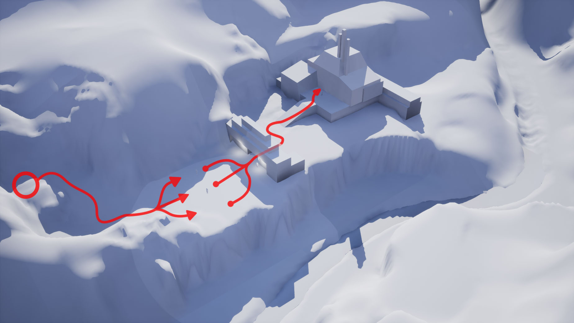 First Blockout. A basic landscape and two structures form the playable area. Intended player path in red with.