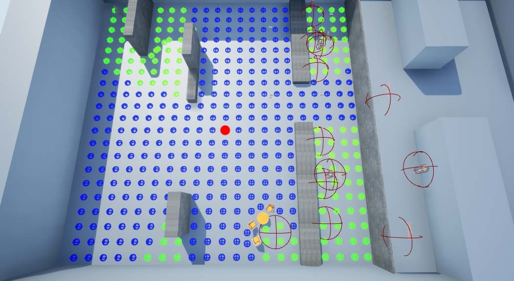 The guard had a panic behaviour that used EQS to find suitable positions to hide from the player. In this picture the EQS is calculated from the red dot.