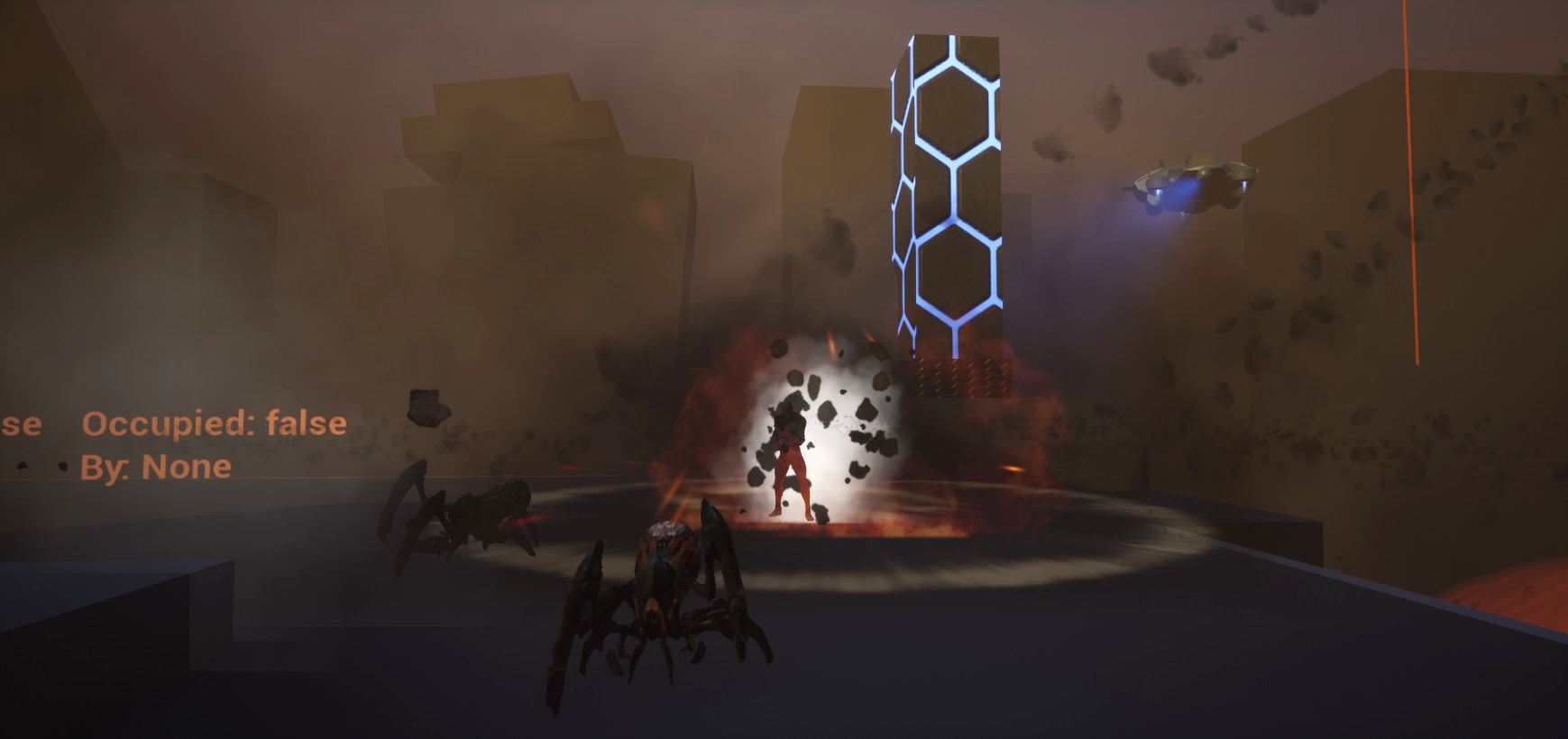 Spawned AI use operate by navmesh and their own Behaviour trees. In this case the Melee AI tree.