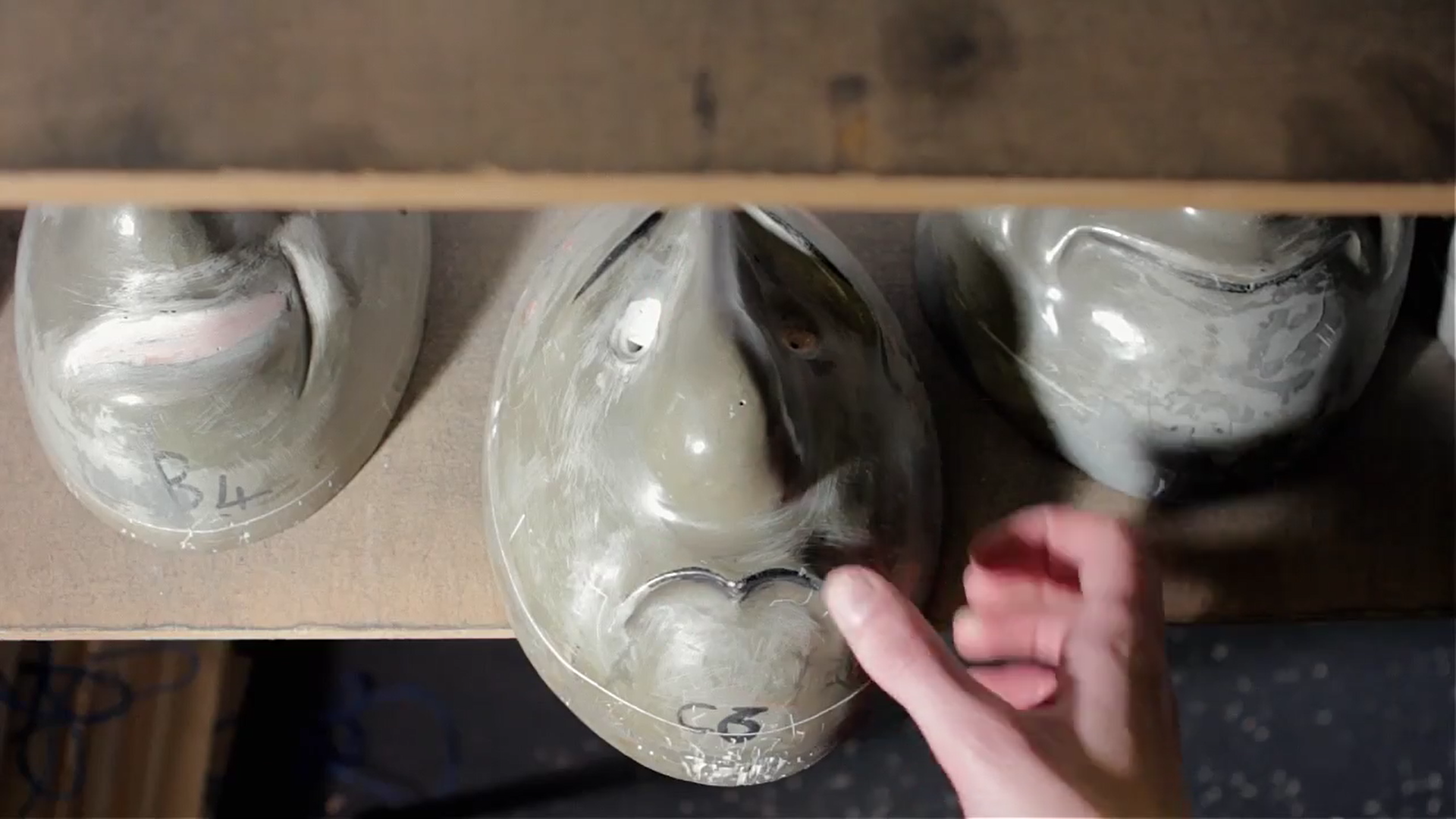 1)  We select one of our pre-made resin mask moulds.