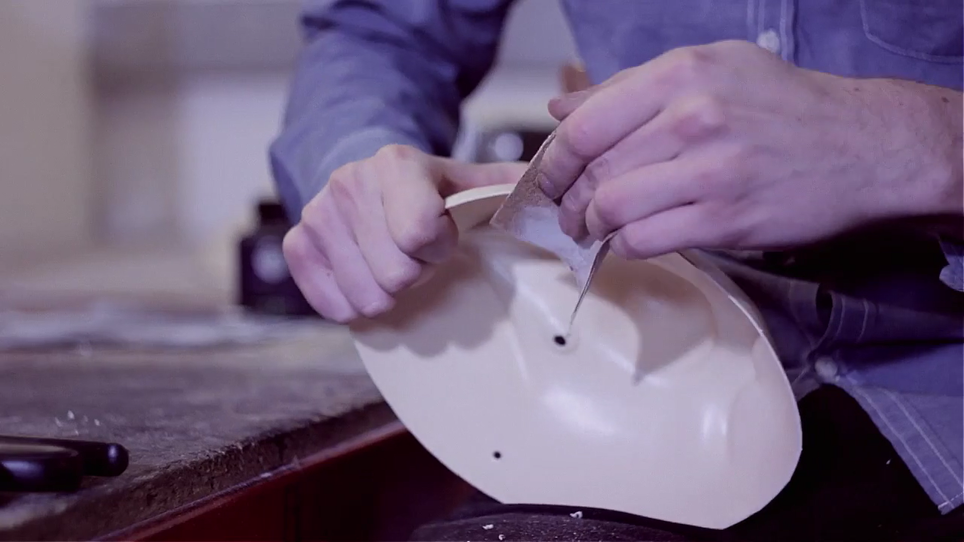 8)  We also sand around the edge of the mask so that it is smooth and comfortable to wear.