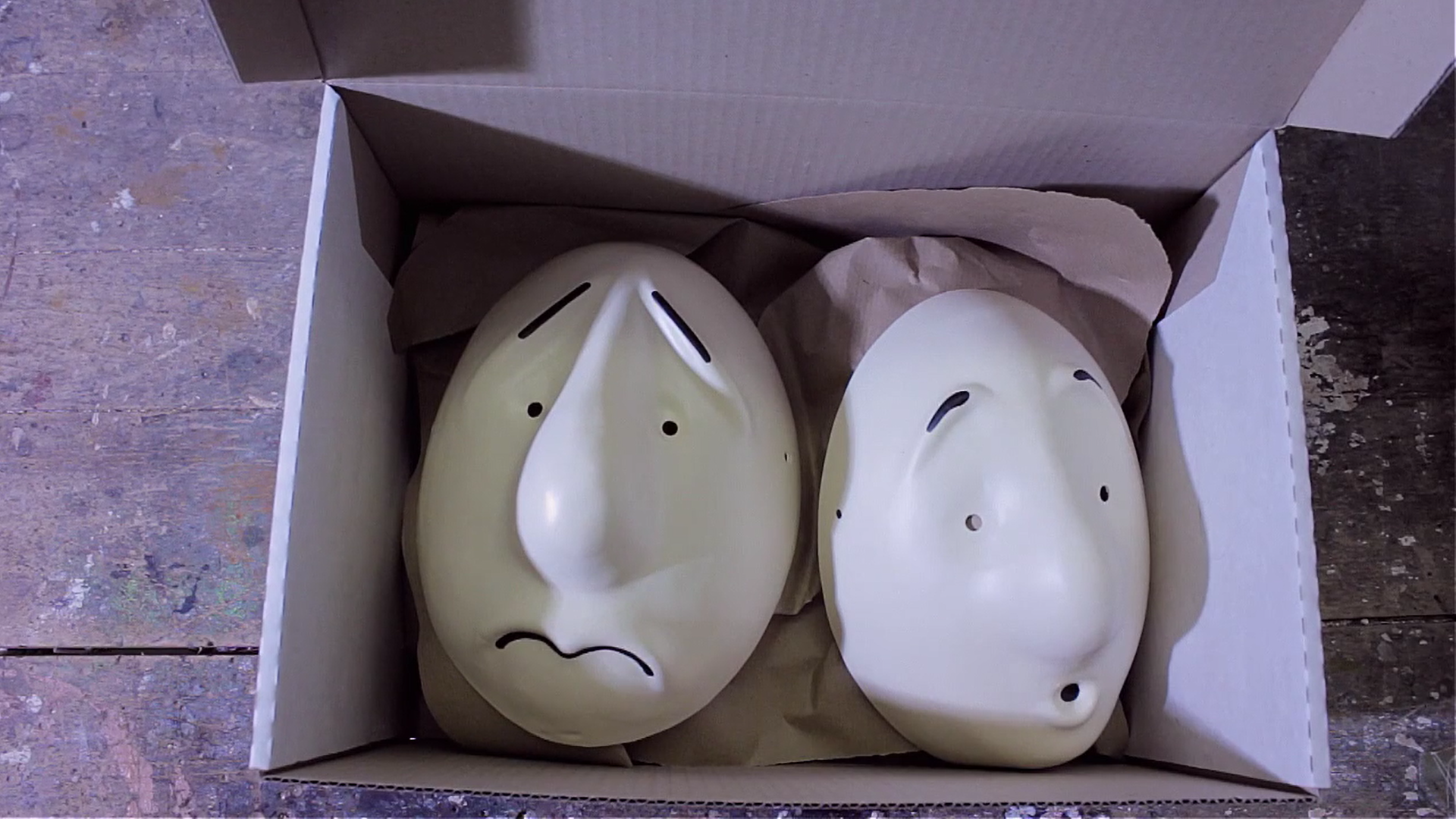 11)  Once all eight masks of the basic set are made, we package them up safely in a Trestle box along with elastic, foam pads.