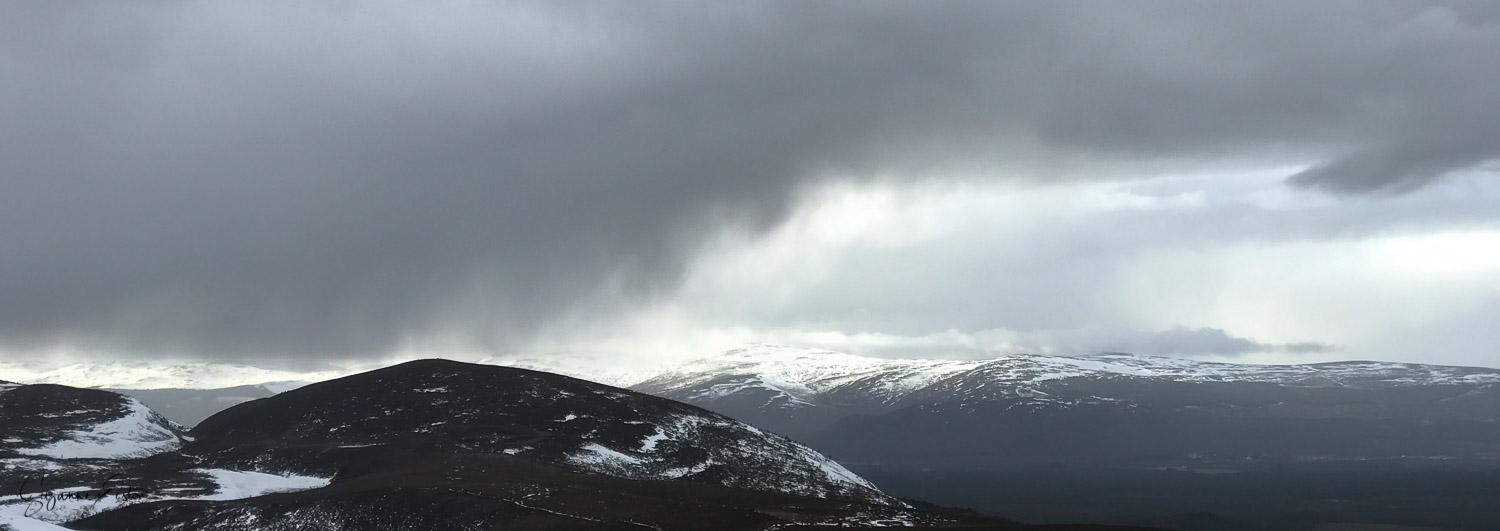 The view across the Cairngorm mountains from the ski centre main car park.