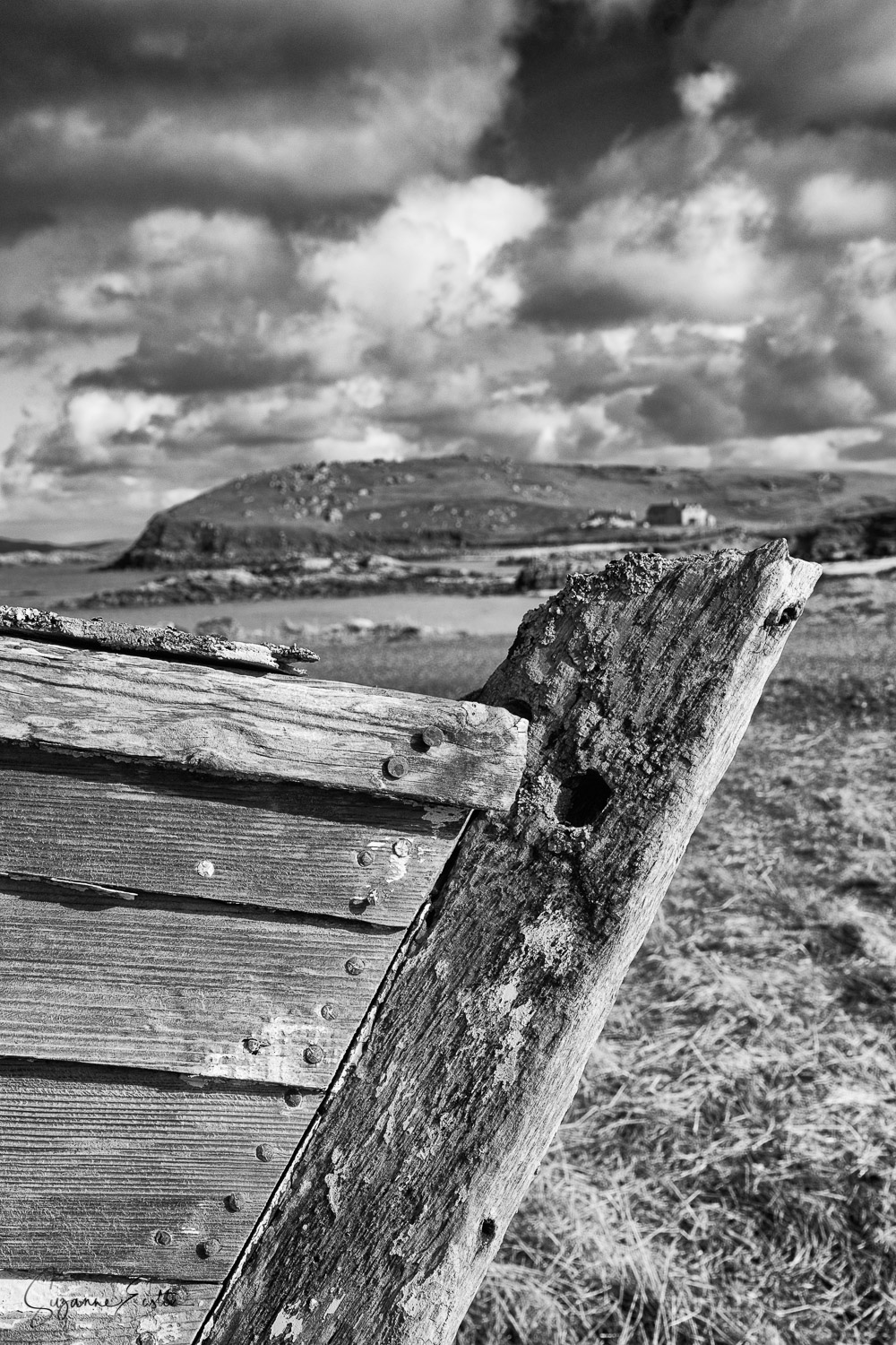 An old boat slowly rots away in Valtos on the Isle of Lewis