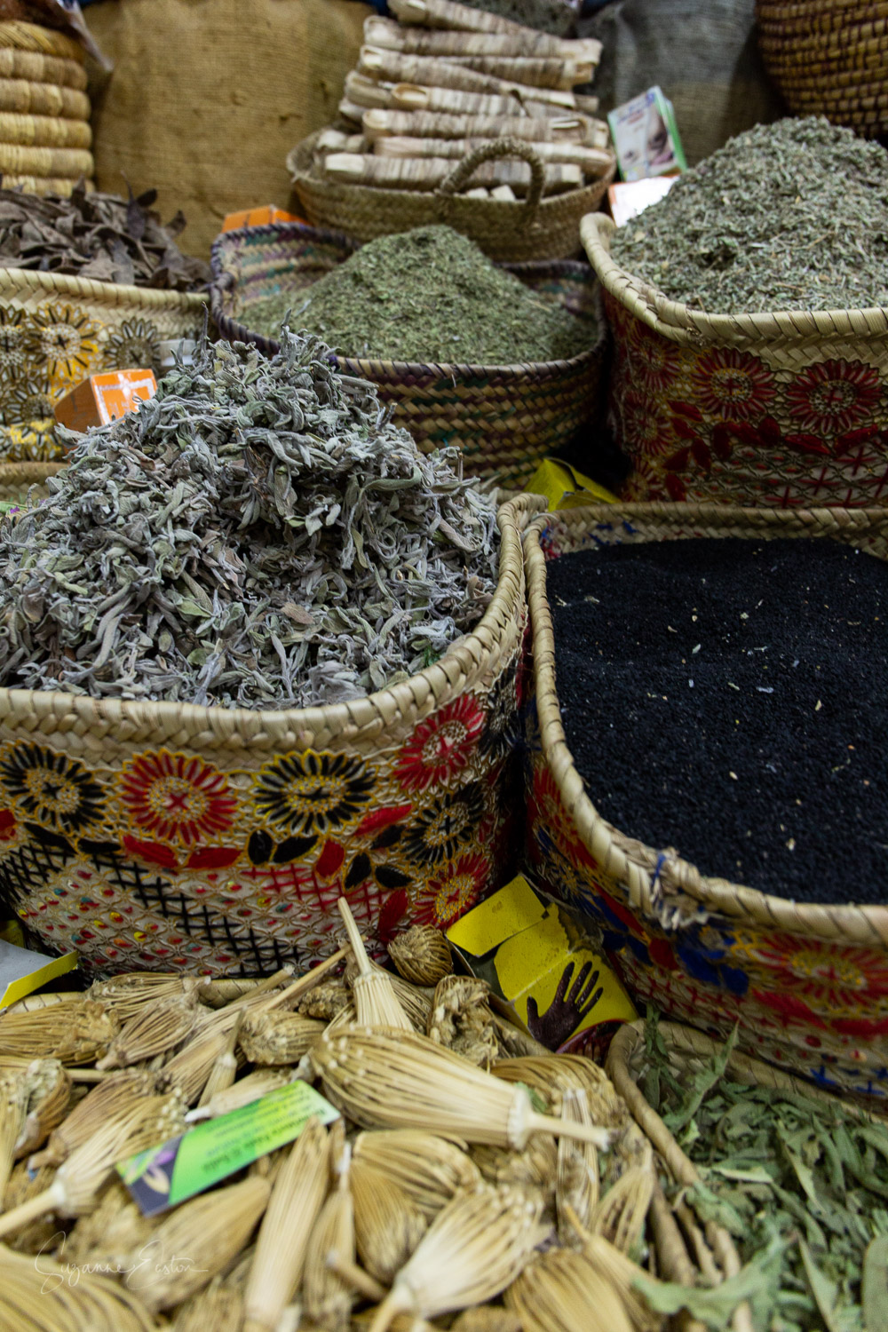 Teas and herbs in a Marrakech spice shop