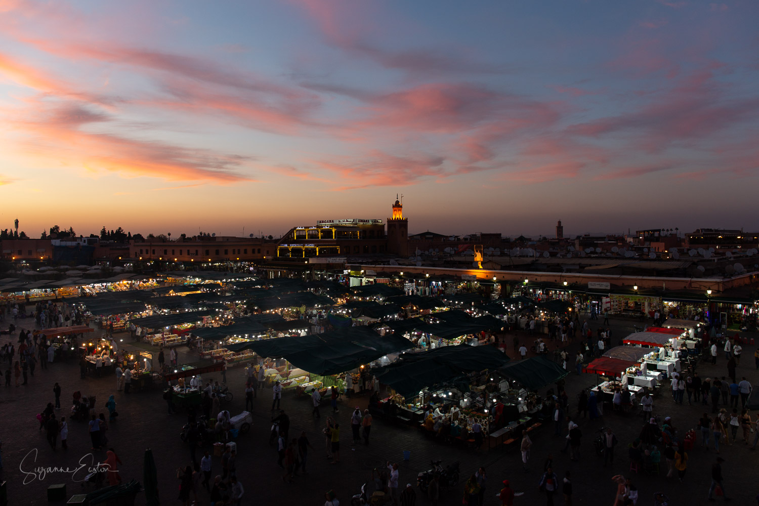 Sunset in Marrakech allows photography without people or the associated stress, especially when you find a balcony over looking the night market.