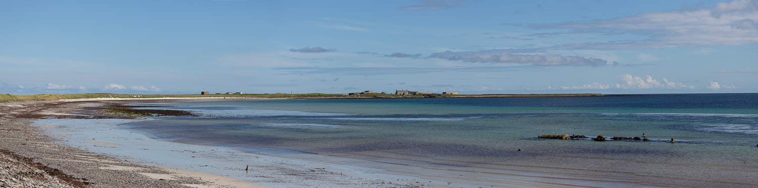 Bay of Lopness on Sanday with the remains of B-98