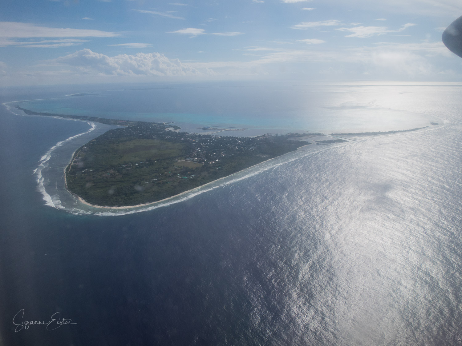 The heart shaped Addu Atoll from the air