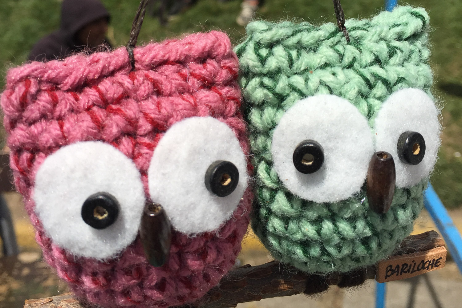 Knitted owls in Bariloche market in Argentina
