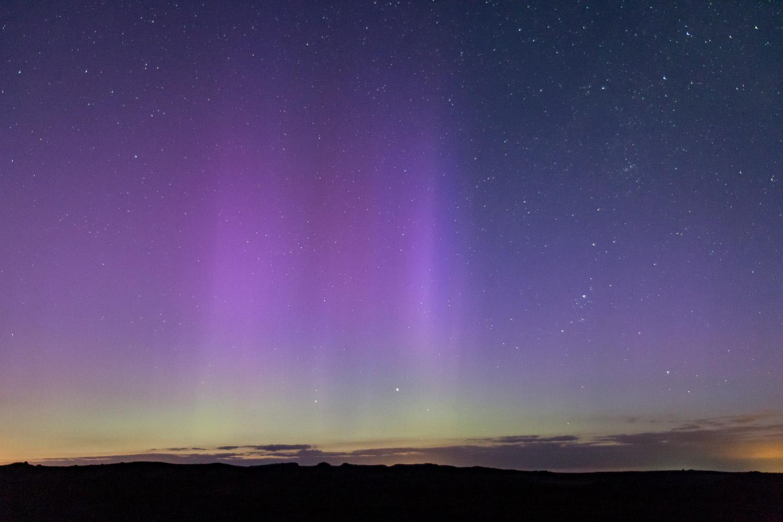Northern lights over Skomer Island