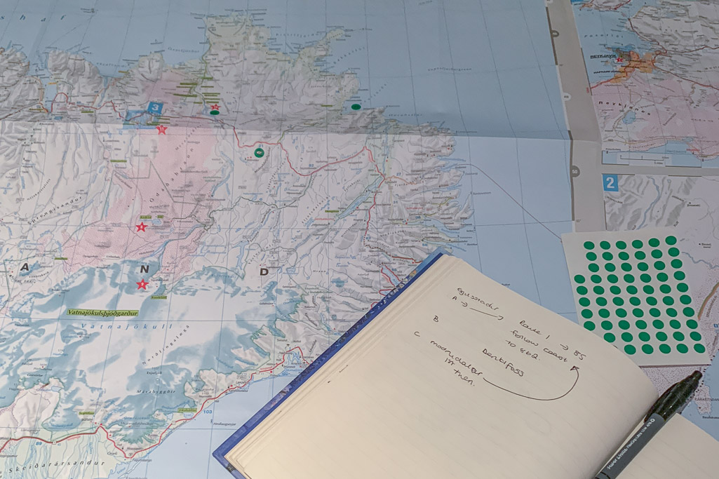 the start of planning a trip