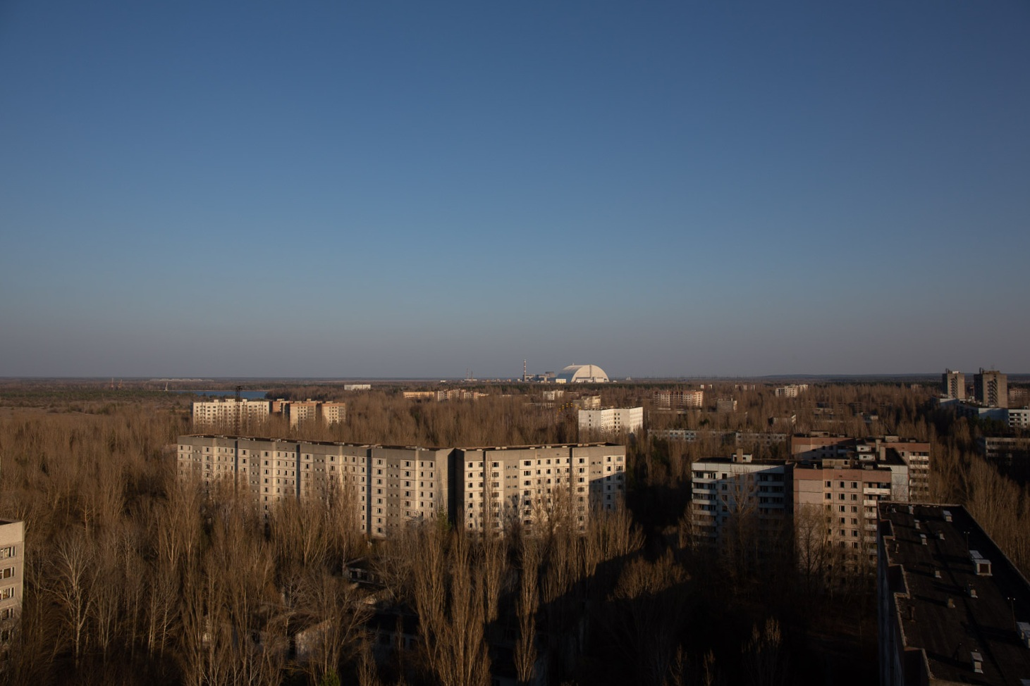 Chernobyl power plant seen from Pripyat