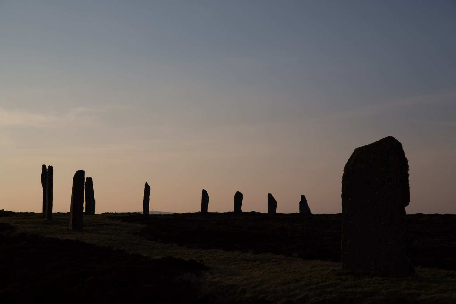 The ring of Brodgar is an ancient Neolithic Stone Circle in Orkney, Scotland