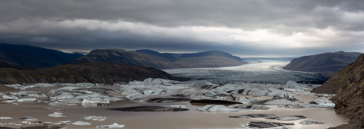 Panorama of the Hoffellsjokull glacier on a grey and overcast evening