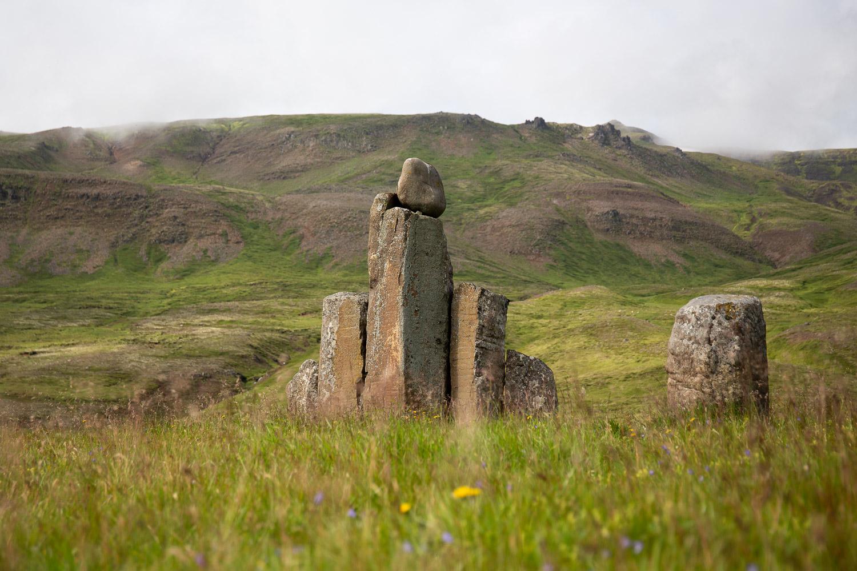 Sculpture in memory of Kjarval in Iceland