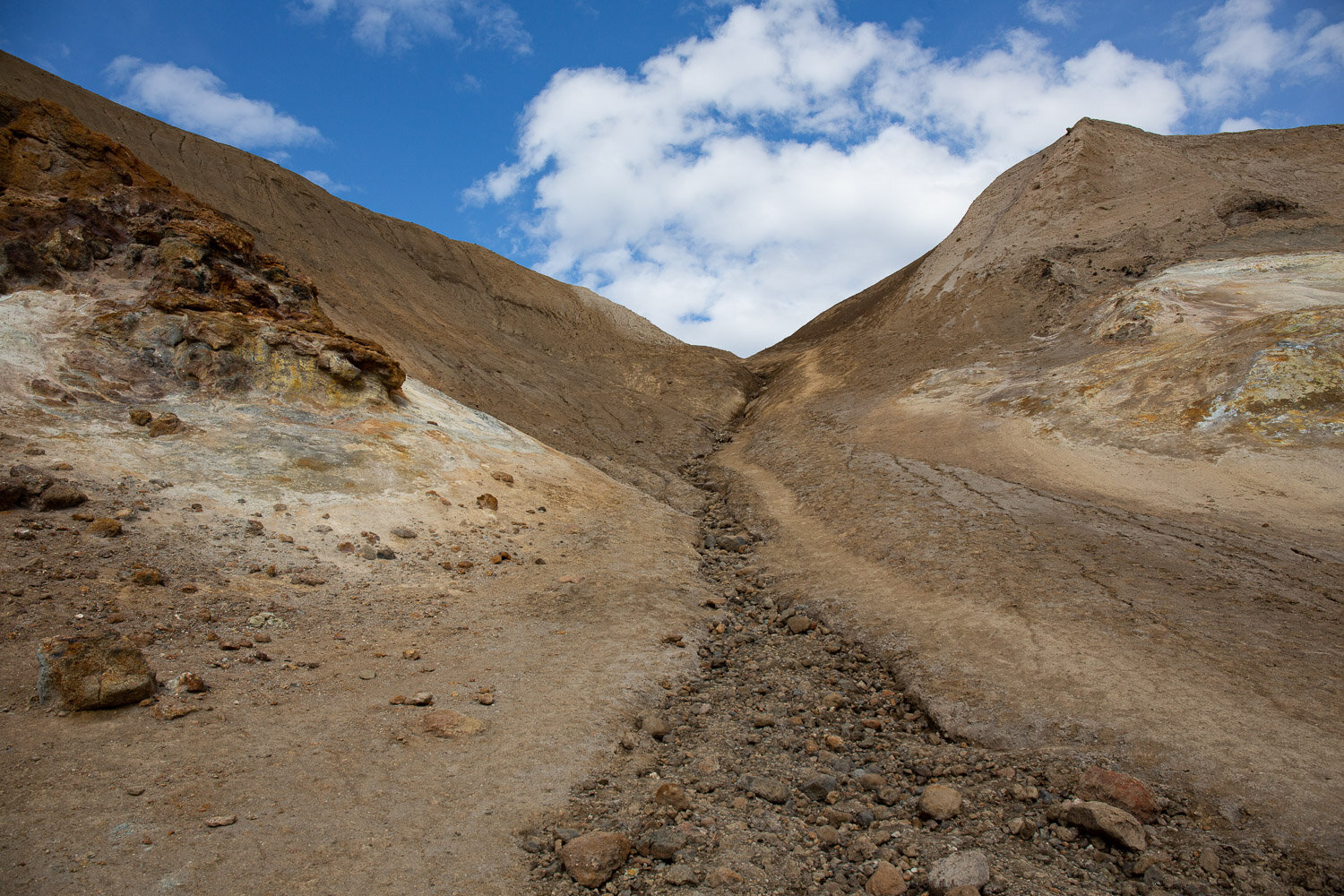 The path into the crater