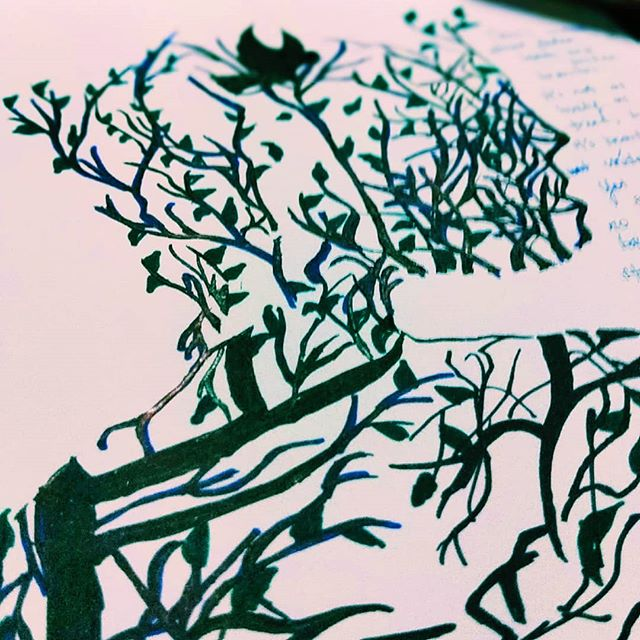 """I have been wanting to add more and more to this artwork.  I added leaves and some blues and greens.  Something about this is just therapy to me.  In need to sketch more that calms me.  Some artwork inspires me to think deep and write more.  But i have been awake since 4am.  Kids are already sleeping.  Here is what i wrote.. """"Adanya kecantikan yang tidak dikenali dengan mata kasar.  Hanya dapat dirasai dengan hati murni.  Daun yang terapung jatuh dan tanggal dari dahan membuatkan aku hayal dalam dunianya.  Aku menutup mata merasa kesakitan dahan yang sukar melepaskan daun.  Mengeratkan genggaman dari dahan yang tergantung namun daun itu tetap jua gugur ke tanah.  Aku mengikuti daun yang rebah ke tanah, satu per satu ia jatuh, dan jatuh lagi.  Dunia seakan berhenti berpusing apabila helaian daun daun itu terapung meninggalkan badannya.  Indahnya tidak ramai yang mengerti.  Namun aku hanya merenung hayal dalam mimpi ini.."""""""
