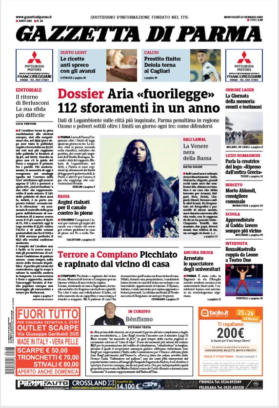 Gazzetta di Parma 23 Gennaio 2019