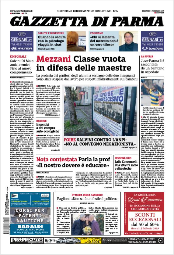 Gazzetta di Parma 5 Febbraio 2019