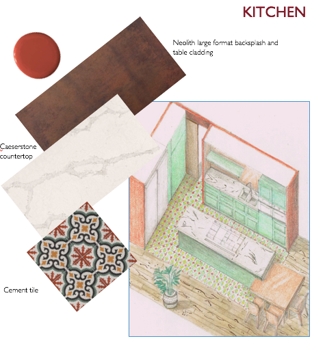 pattern cement tile, kitchen, coral, terracotta, neolith, caeserstone counter
