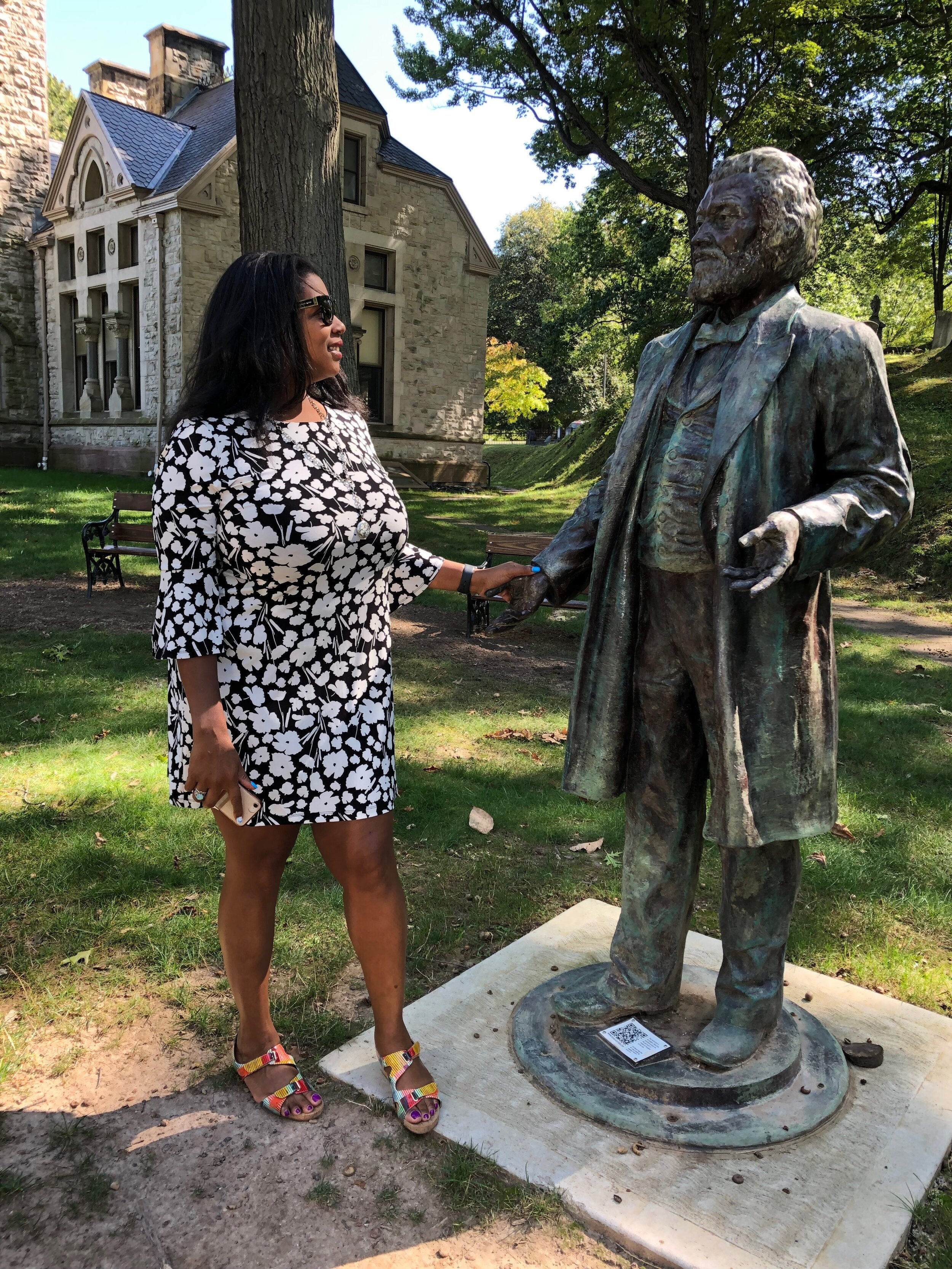 Rue Mapp visits Mount Hope Cemetery and a Frederick Douglass sculpture (sculpture by Olivia Kim).