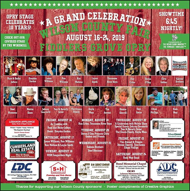 I'm super excited to announce that I'm going to be playing the Fiddler's Grove Opry Stage at the world famous Wilson County Fair in Lebanon, Tennessee this year! I'm absolutely honored for the opportunity. I'll be playing on Friday, August 23rd, and the lineup includes some amazing talent. I'm very thankful to Tim Atwood for being gracious enough to share his stage with me. You don't want to miss it. It's going to be a blast! I hope to see you there! • • • • • • • • #wilsoncountyfair #fair #nashville #musiccity #tennessee #guitar #acoustic #live #countrymusic #music #country #gospel #bluegrass #singersongwriter #opry #oprystage #newmusic #summer #band