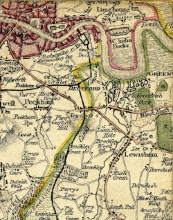 Map from 1800 with proposed canal route.