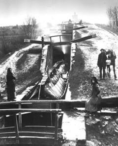 Canal swing bridges.