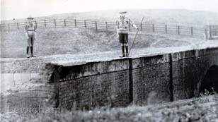 Scouts patrolling Dead Lane bridge in 1914 war.