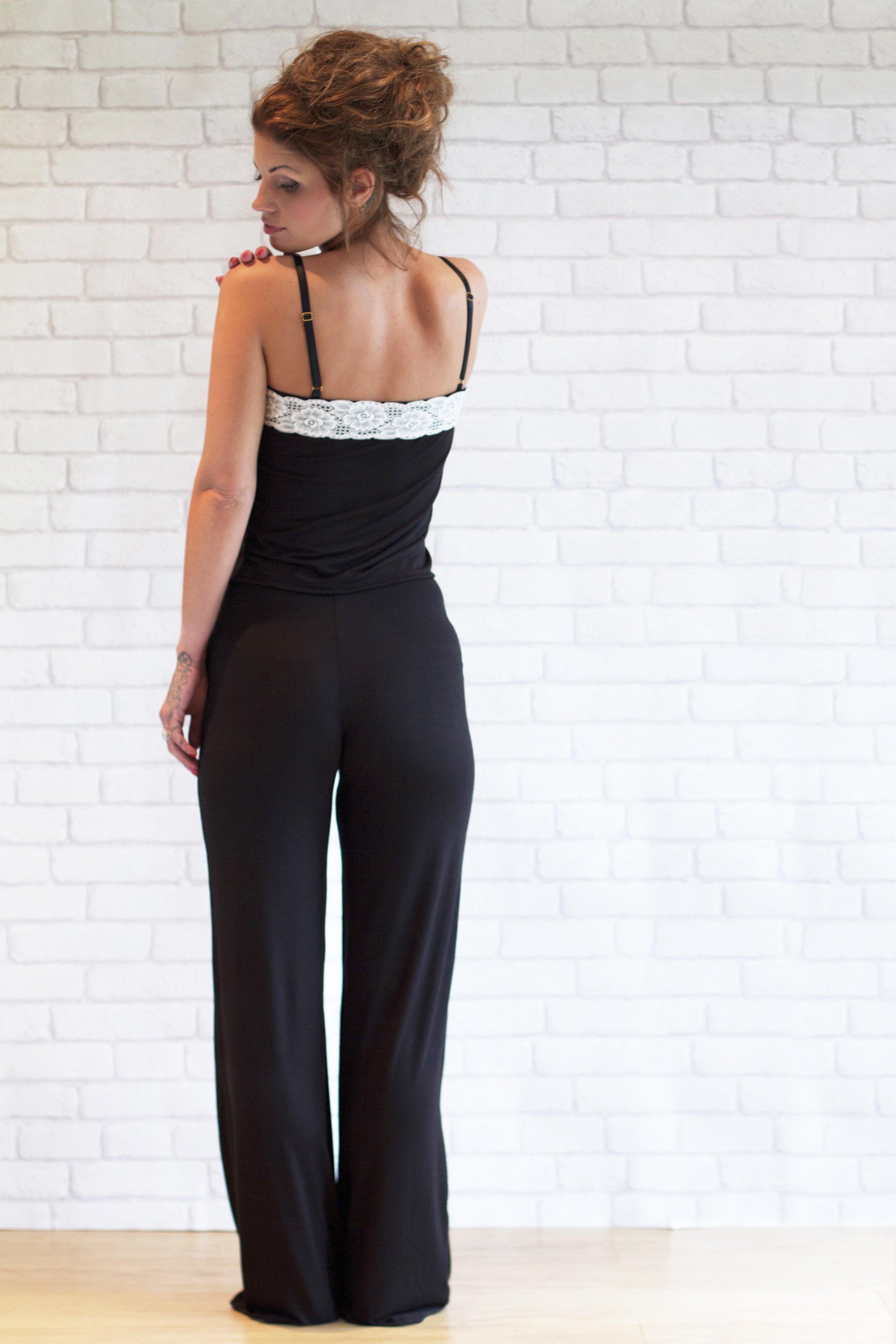 black pyjamas and loungewear