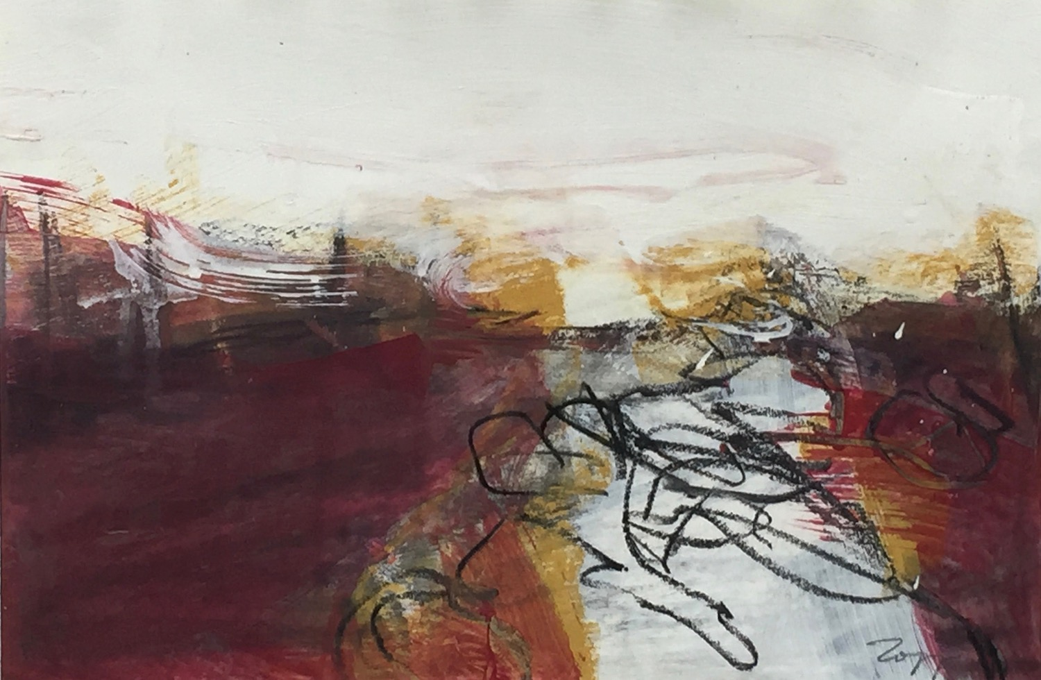 Barrens #10 , acrylic, charcoal, pastel, 10 x 14.5 inches. $500.