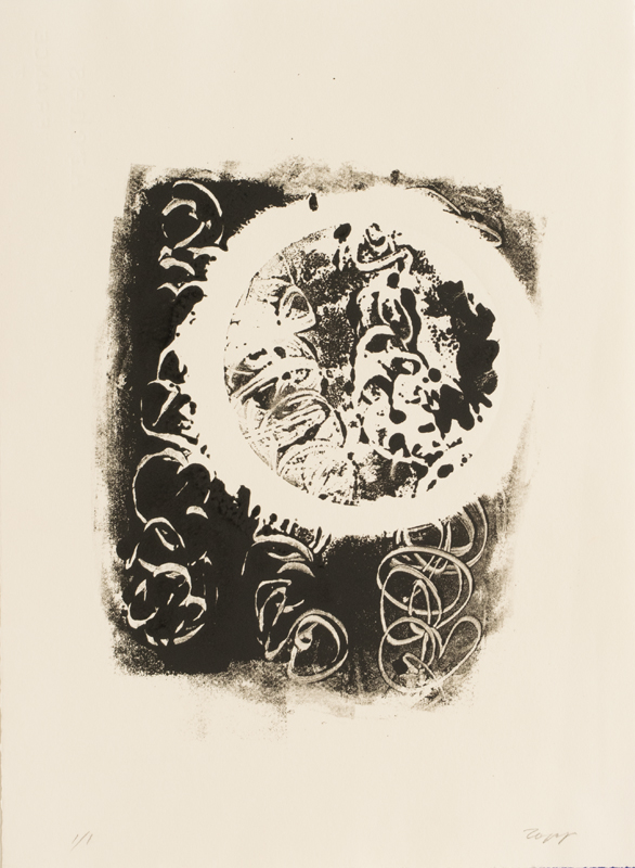Star Flower ink monotype, Arches paper