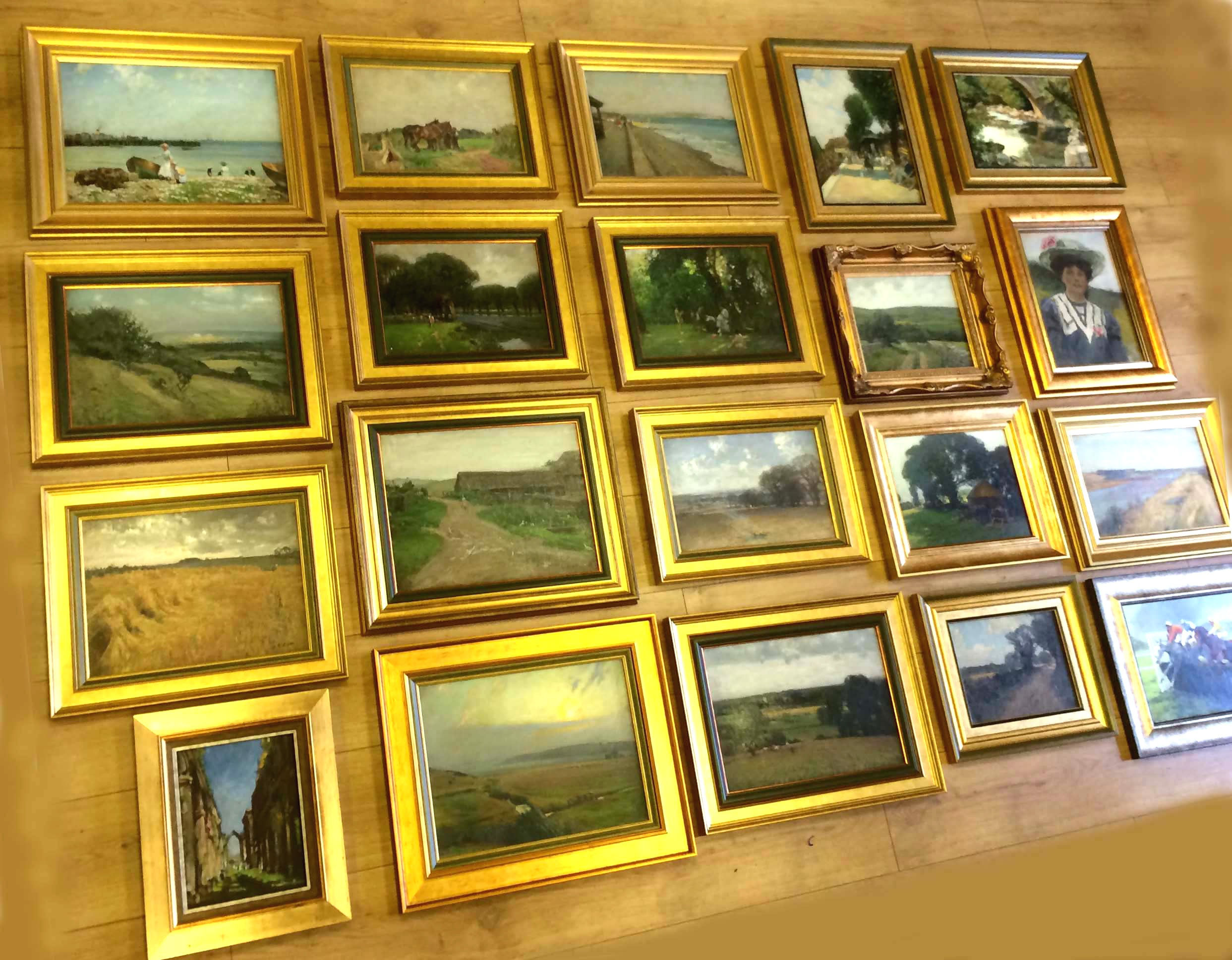 This was just half of the collection brought to us from Mr. Moore all the way from Kent after an in depth consultation on the phone. His late father had painted these oils. He wanted them in a variety of traditional gold 'scooped' frames not the 'reverse' type and fitted with inner slips. A huge framing job.