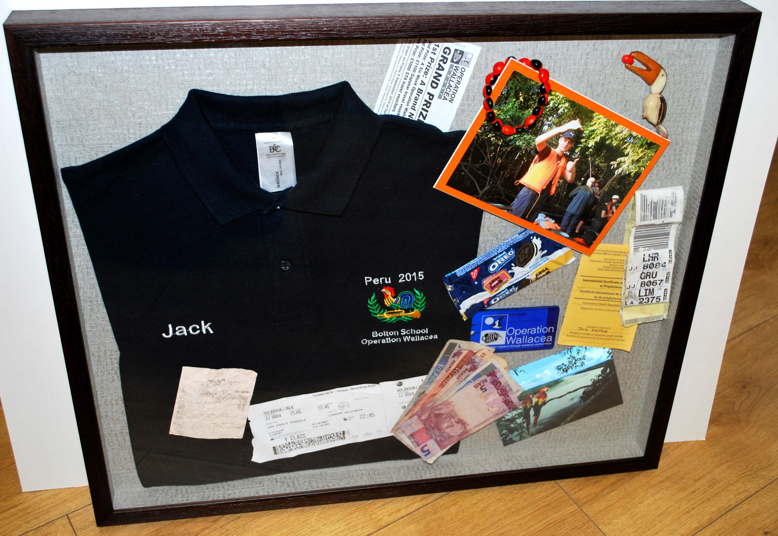 Rather than lay out these items out formally we suggested framing them with an 'open suitcase' feel as this was to be a surprise presentation for the client's son having returned from his student travels overseas. Random!